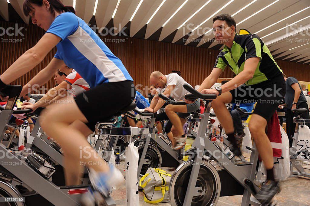 Spinning exercise royalty-free stock photo