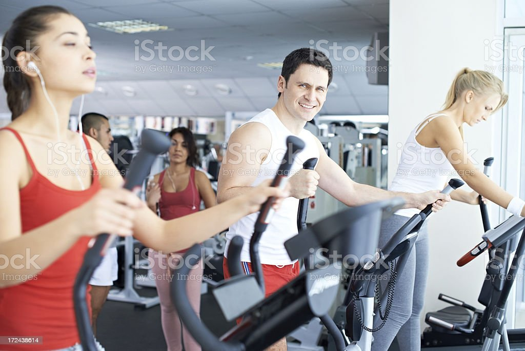 Exercising in gym royalty-free stock photo
