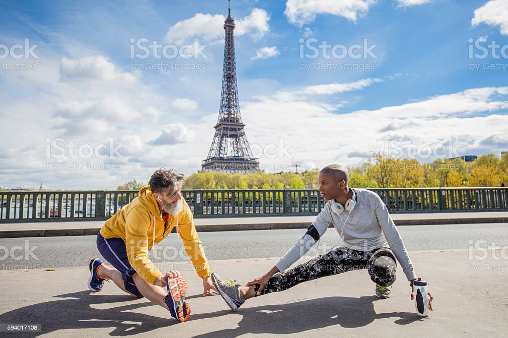 Exercising in the streets of Paris stock photo