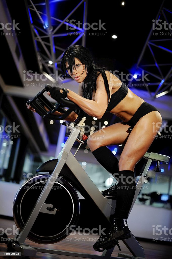 Spinning Instructor stock photo