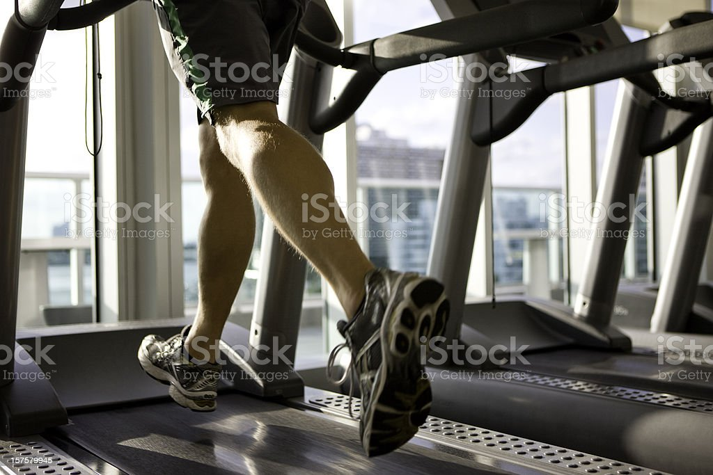 Exercising on a treadmill royalty-free stock photo