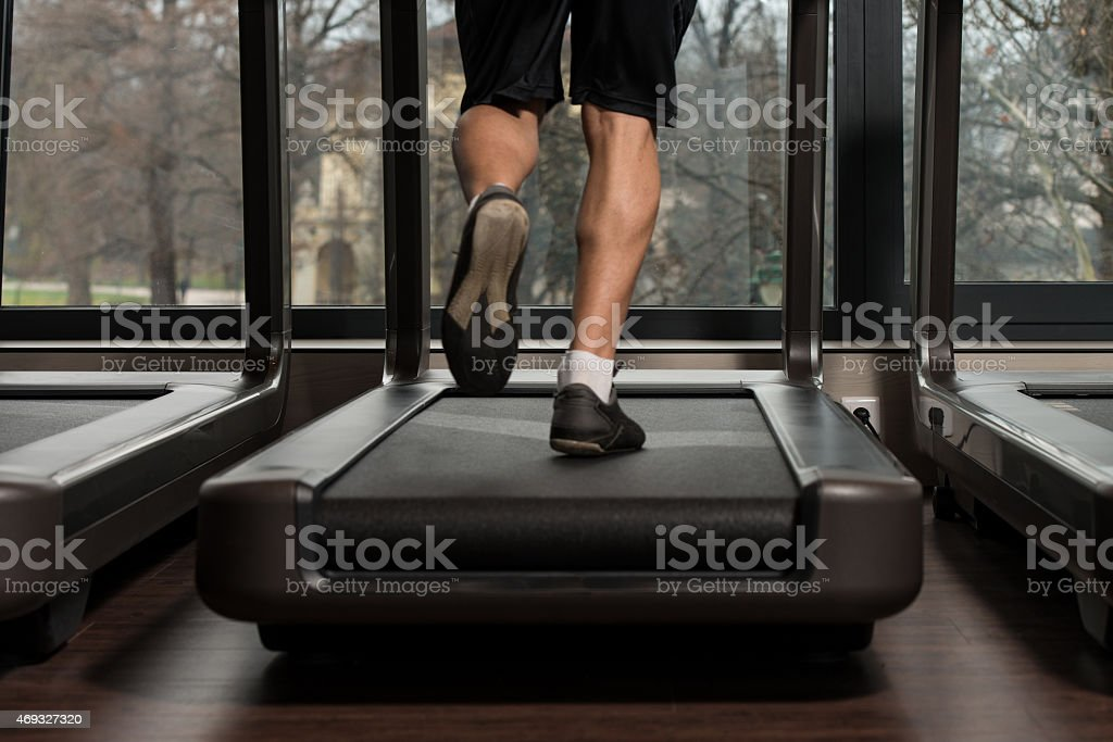 Exercising On A Treadmill stock photo