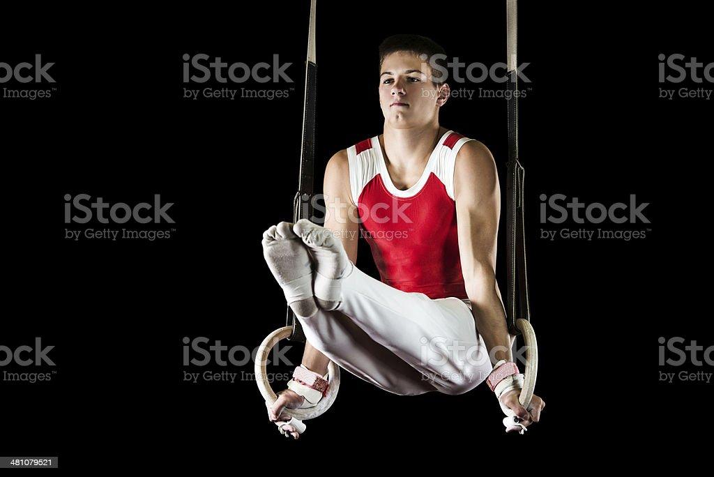 Exercising on gymnastics rings. royalty-free stock photo