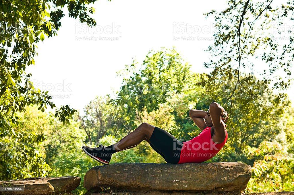 exercising outdoors royalty-free stock photo