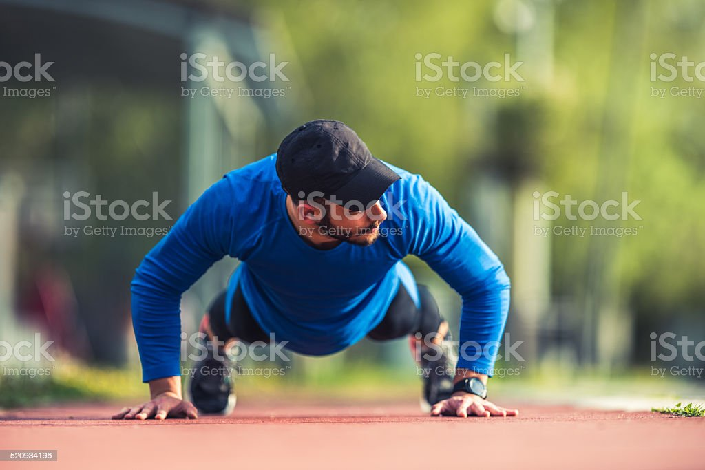 Exercising outdoors stock photo