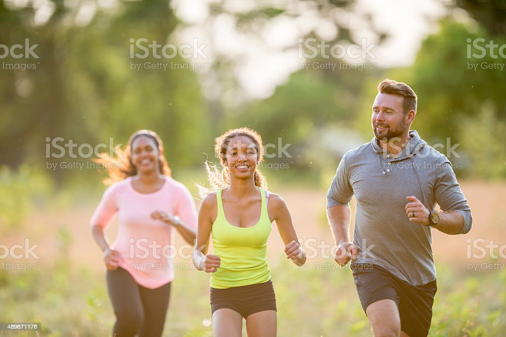 Exercising Together as a Family stock photo
