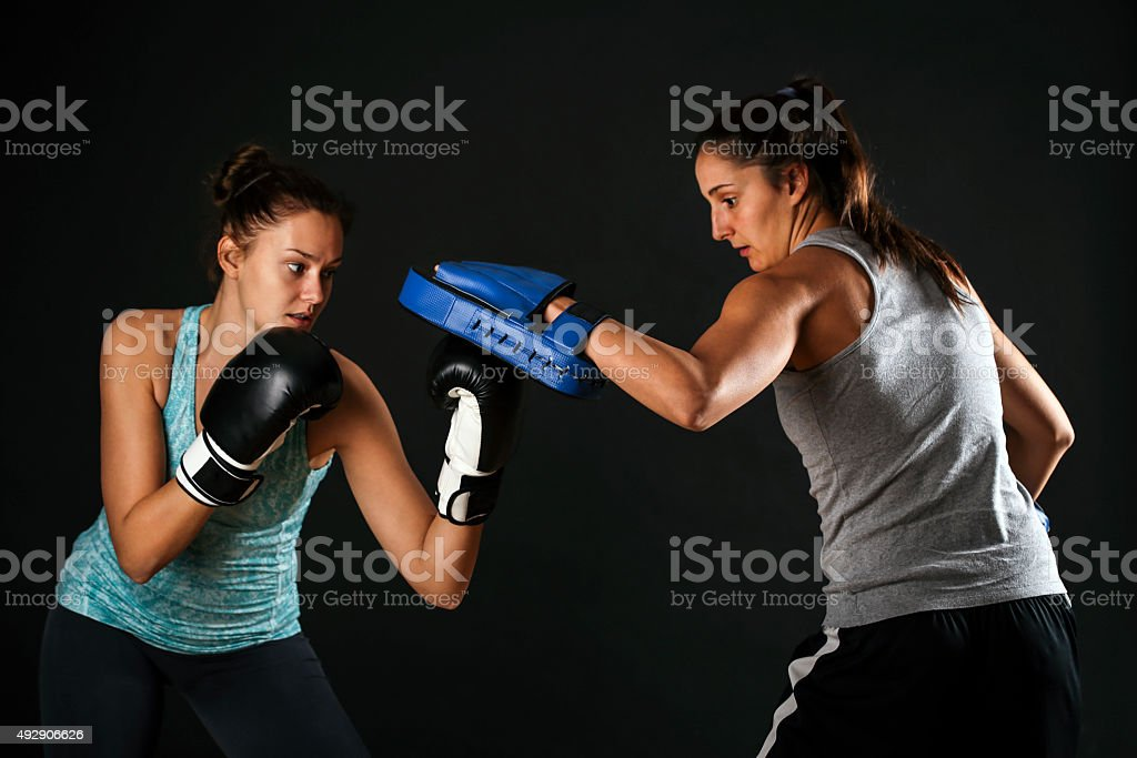 Exercising upper cut stock photo