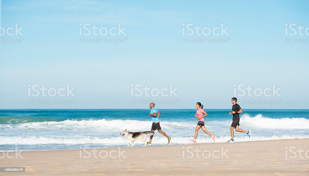Exercising with friends. stock photo