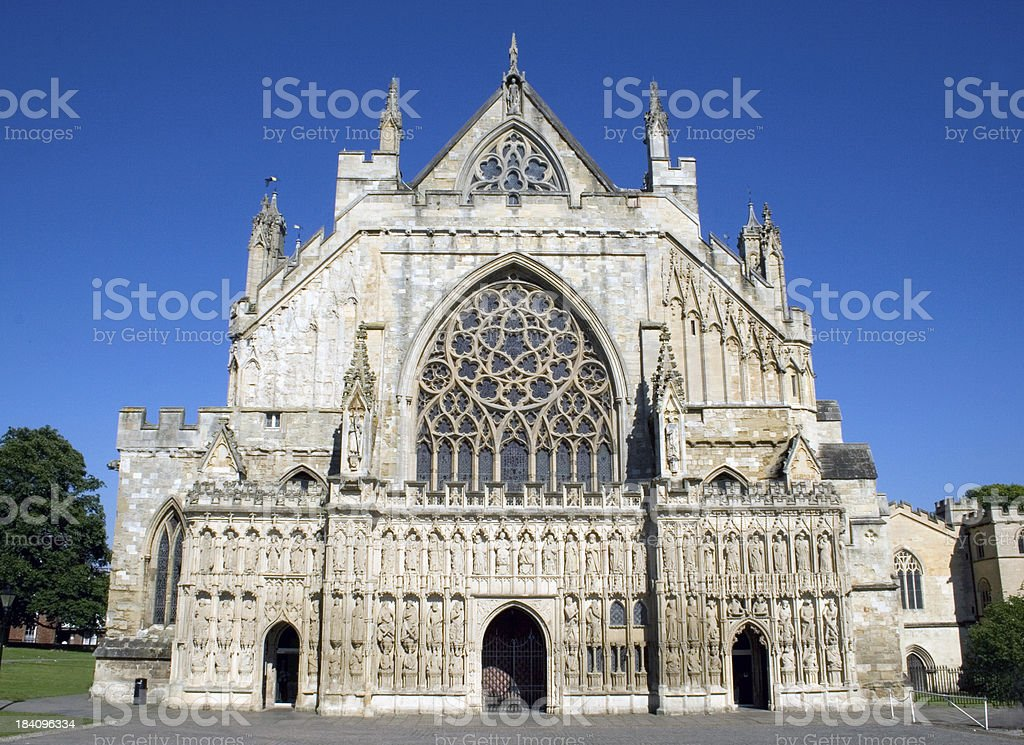 Exeter Cathedral facade stock photo