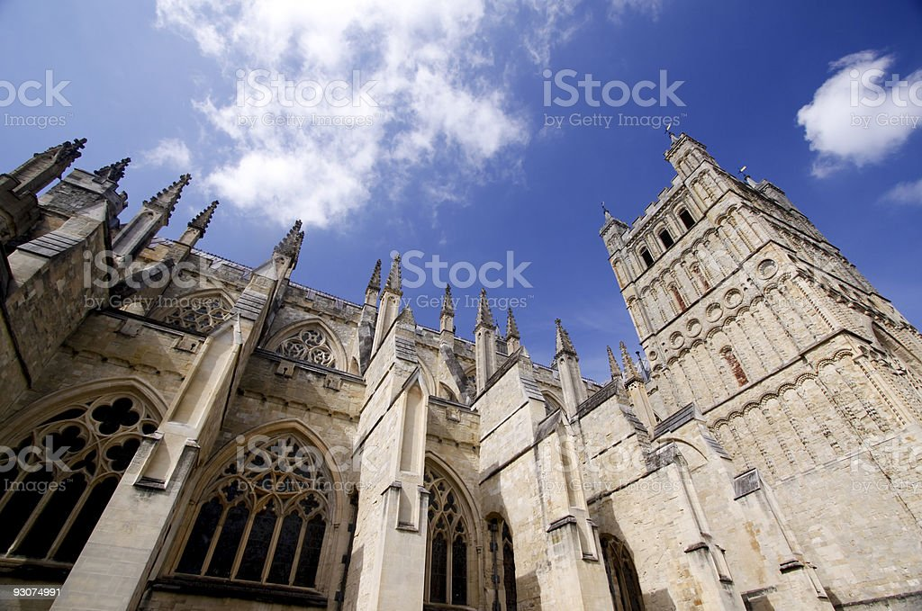 Exeter Cathedral in Devon, England stock photo