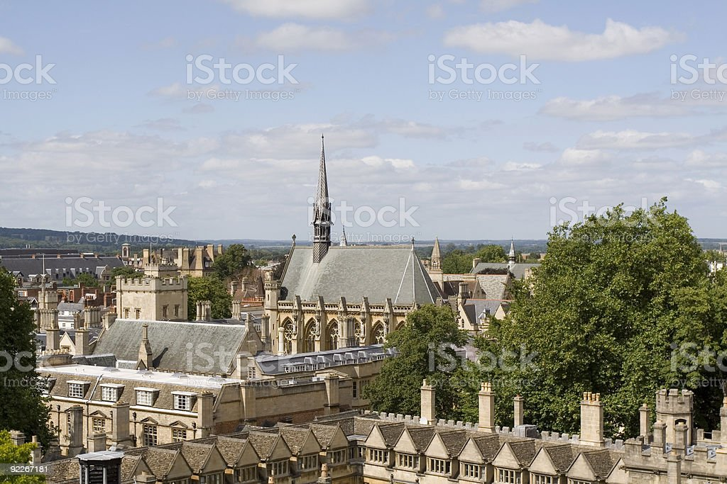 Exeter college from the tower of University Church, Oxford stock photo