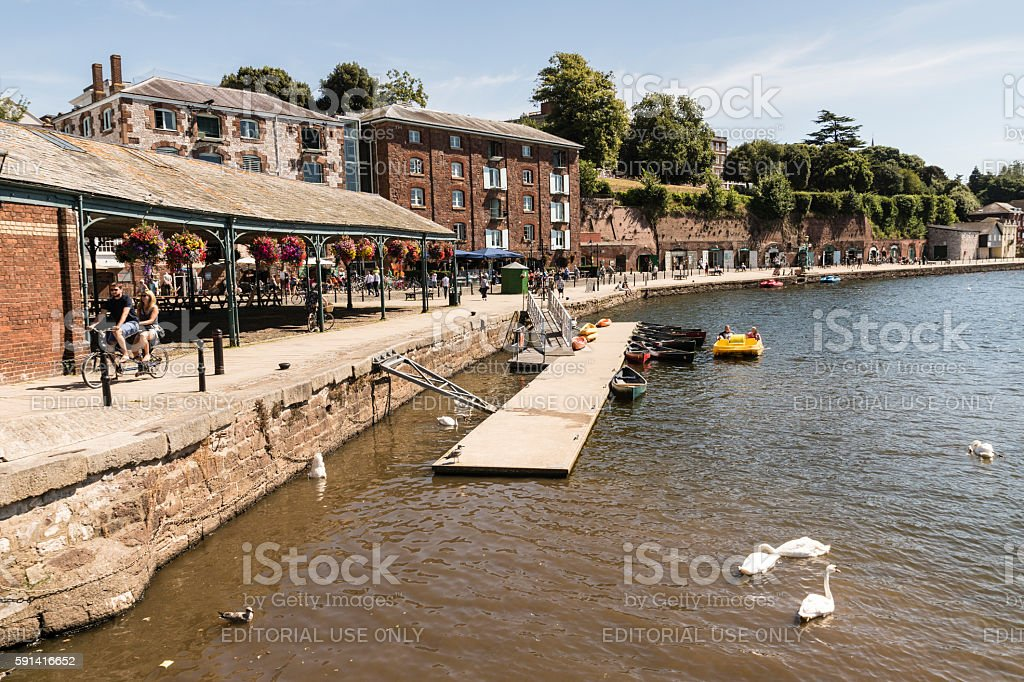 Exeter quay Devon on a summers day with people around stock photo