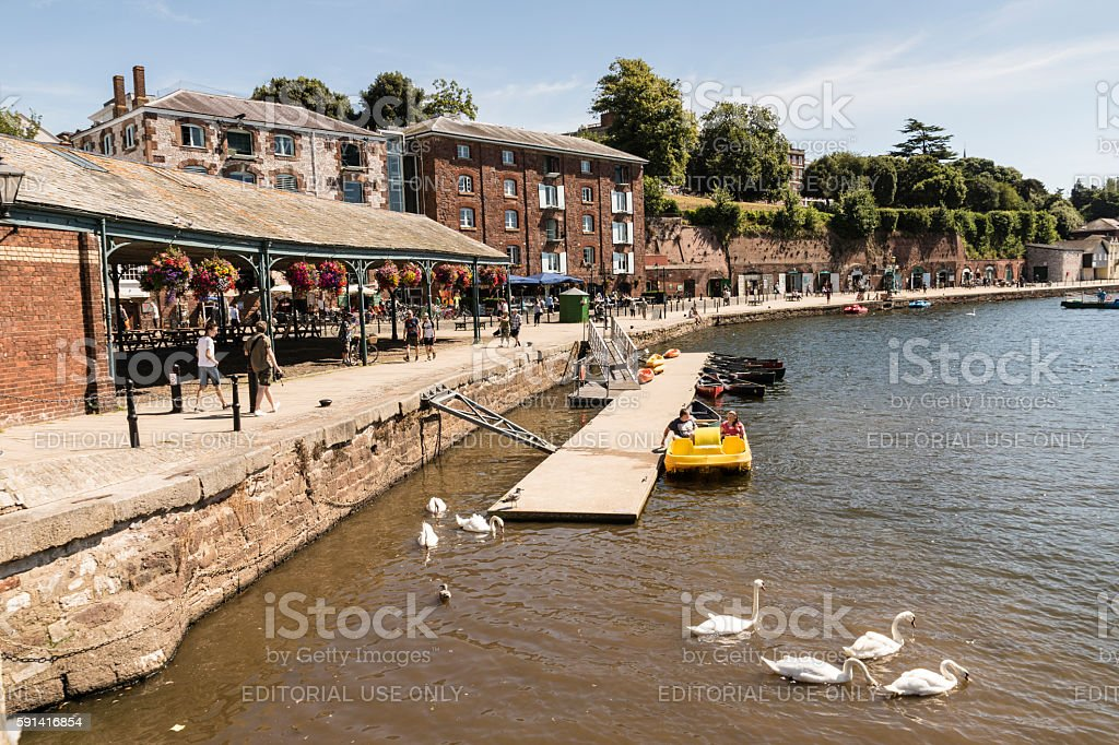 Exeter quayside a popular waterside venue for eating and drinking stock photo
