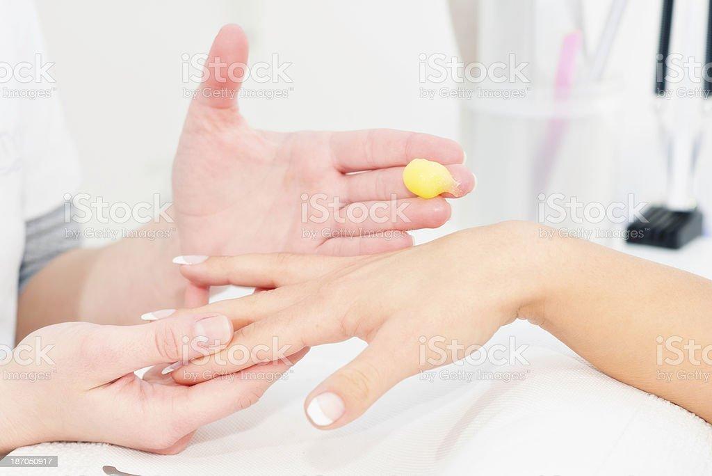 Exfoliating Hand cream application royalty-free stock photo