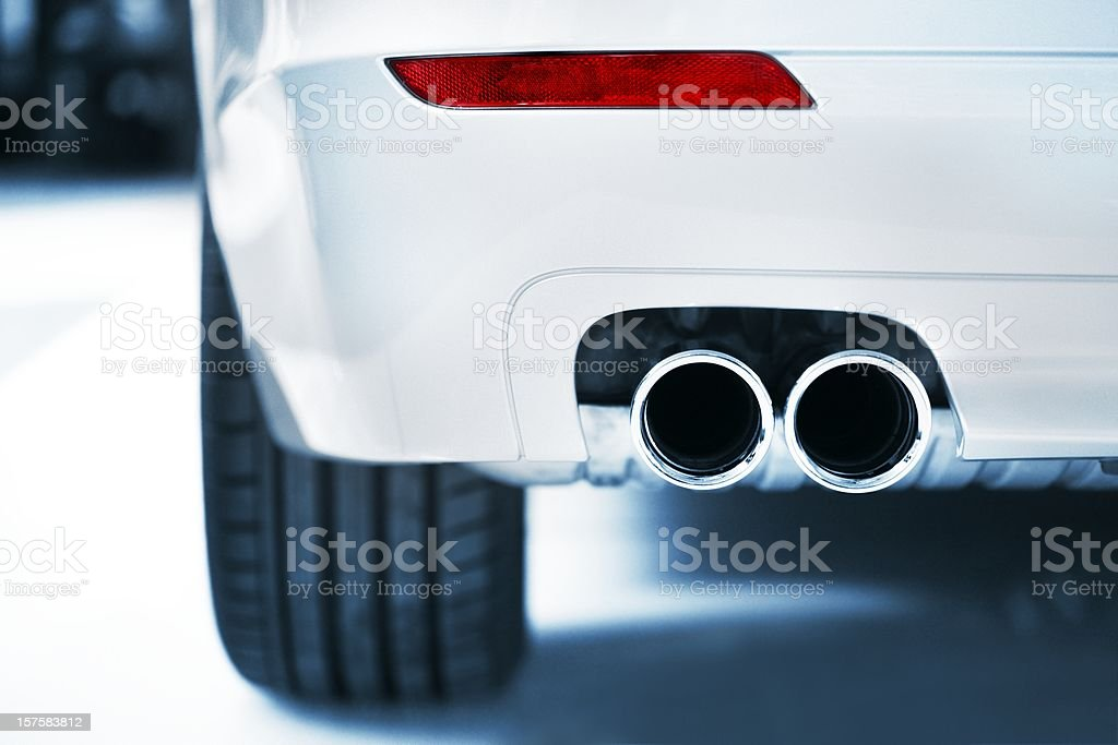 Exhaust and red light stock photo