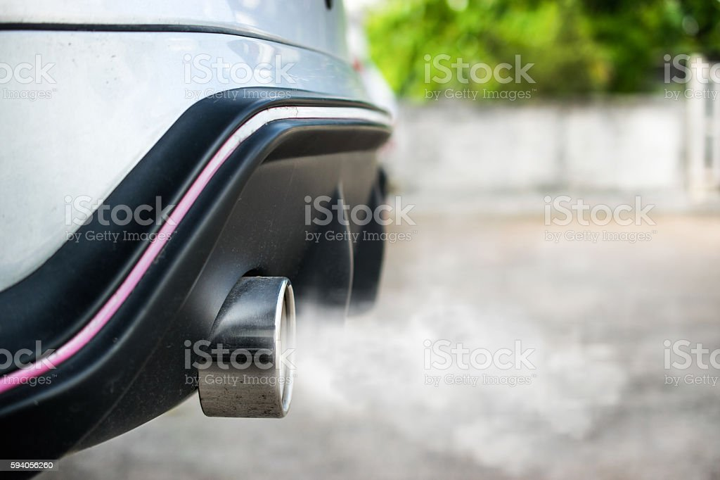 Exhaust from car stock photo