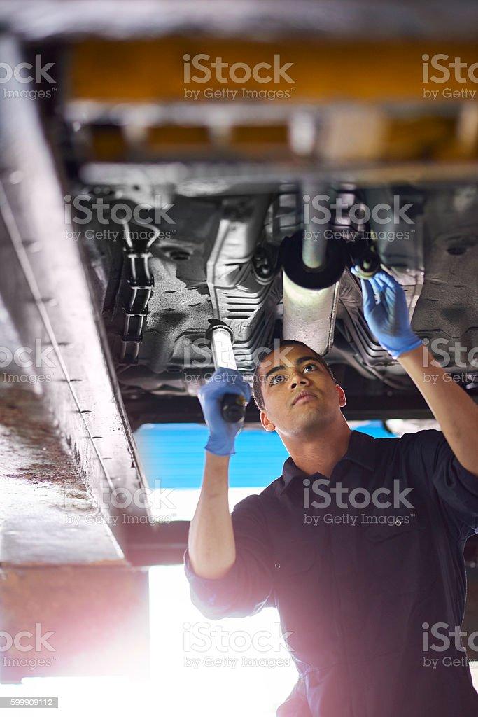 Exhaust repairs stock photo