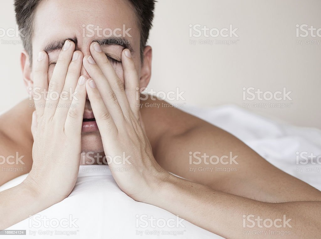 Exhausted and tired stock photo
