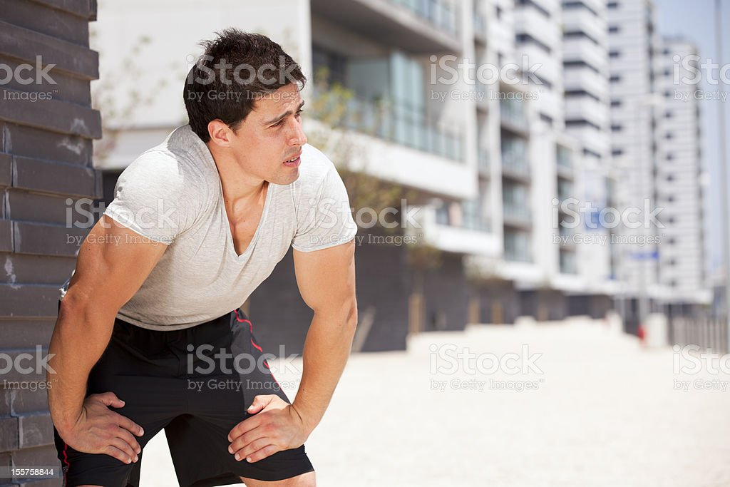 Exhausted athlete royalty-free stock photo
