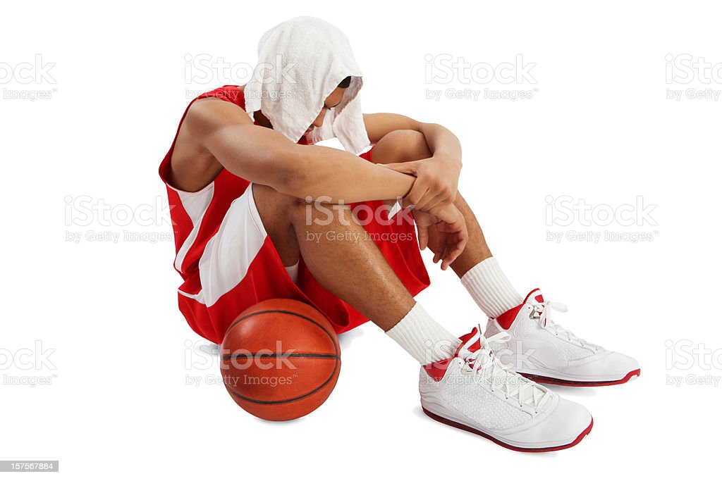 Exhausted Basketball Player Isolated on White royalty-free stock photo