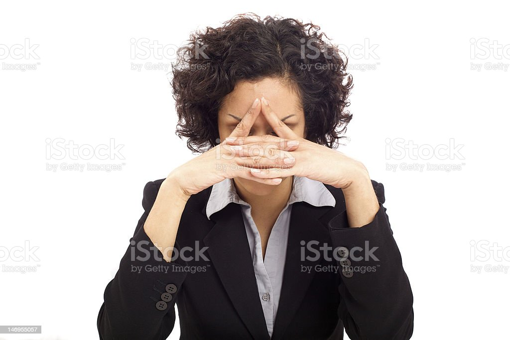 Exhausted business woman royalty-free stock photo