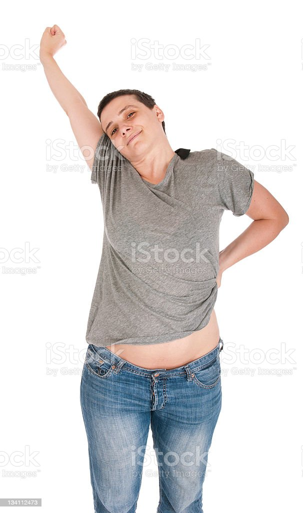 Exhausted casual woman stock photo