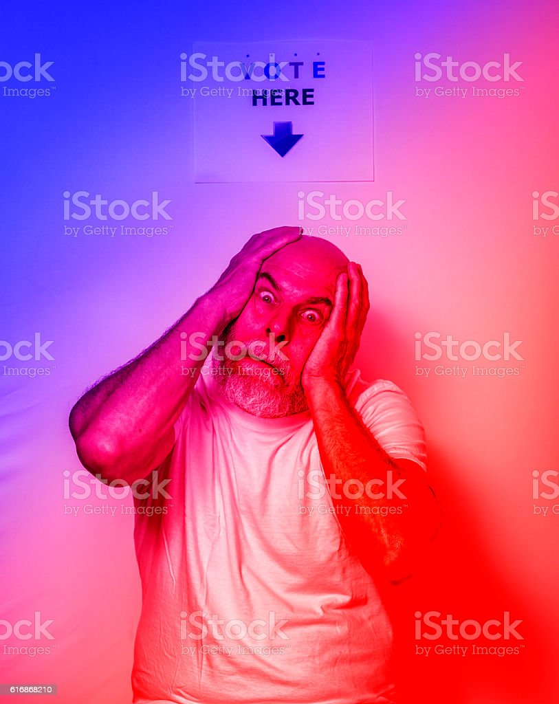 Exhausted Fed Up Angry USA Independent Voter Senior Man stock photo
