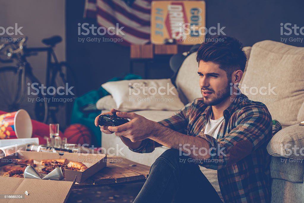 Exhausted gamer. stock photo