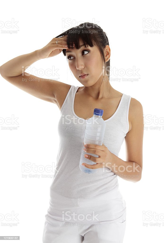 Exhausted girl after fitness stock photo