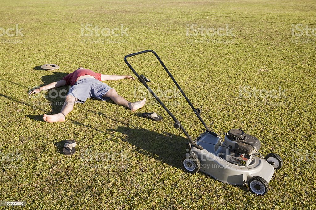Exhausted Lawn Mower stock photo