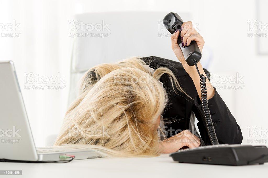 Exhausted Secretary stock photo