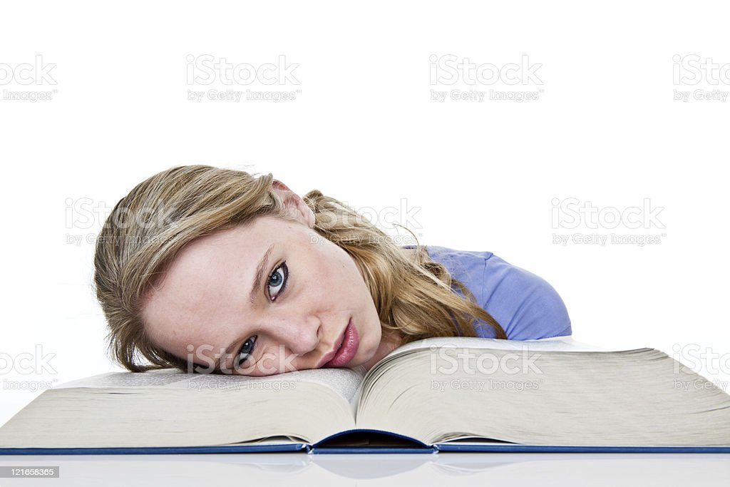 Exhausted student royalty-free stock photo
