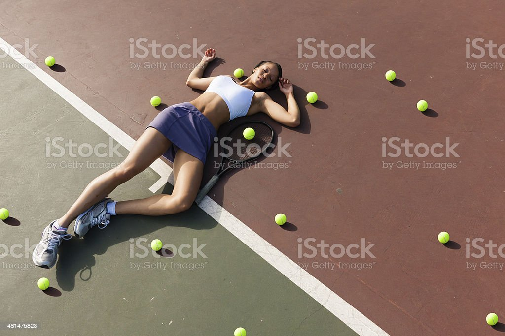 Exhausted Tennis Player royalty-free stock photo