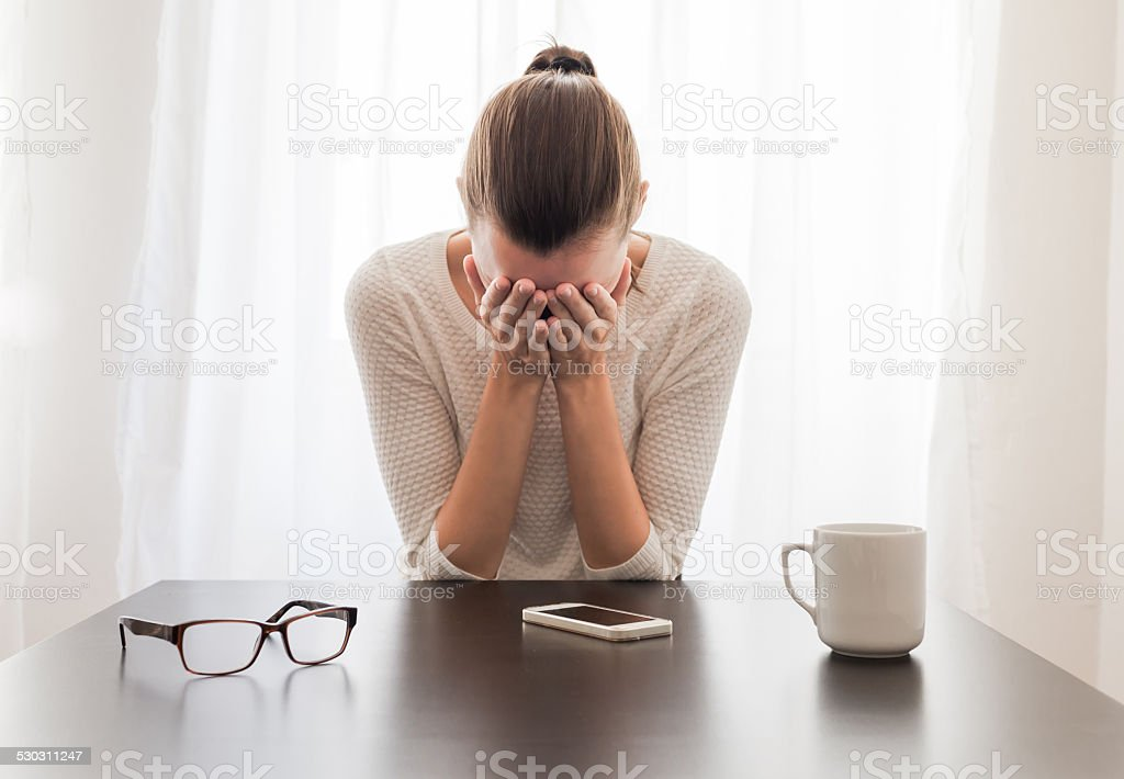 Exhausted woman stock photo