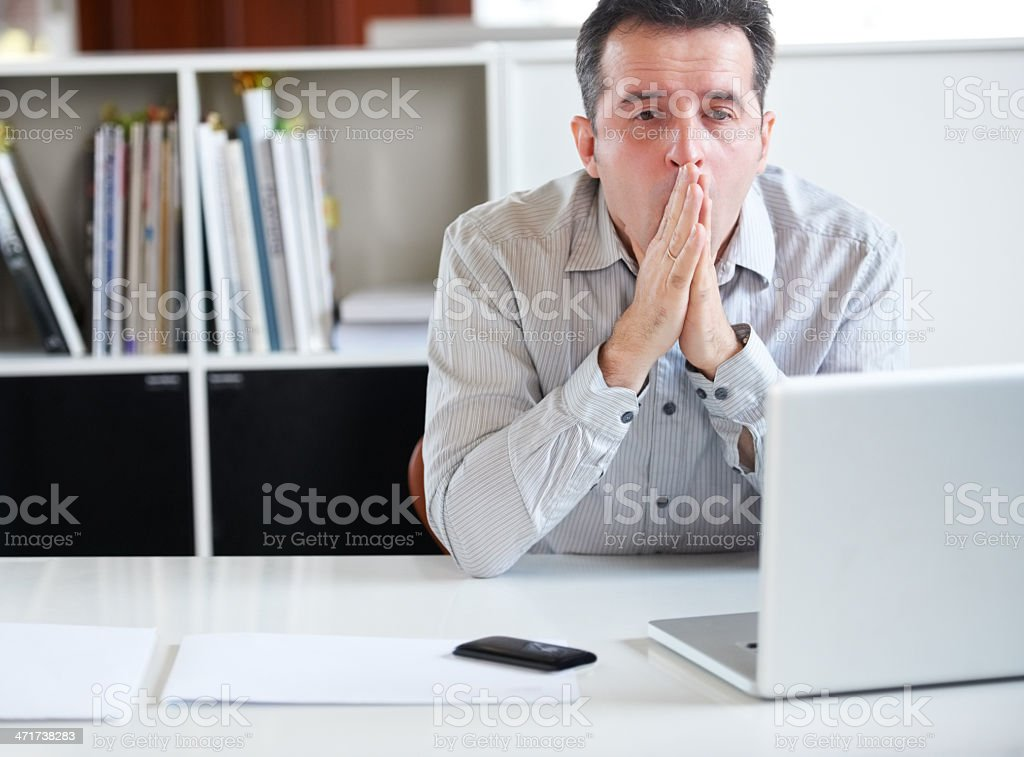 Exhaustion in the workplace stock photo