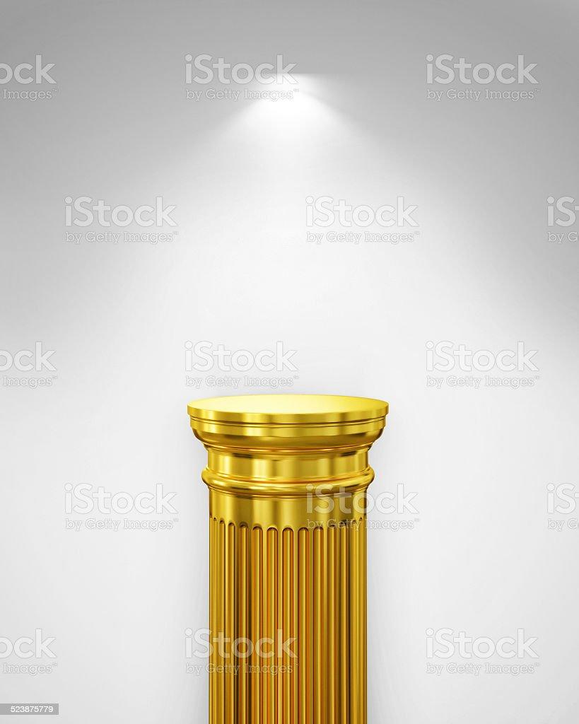 Exhibit Golden Pillar with Light, render stock photo