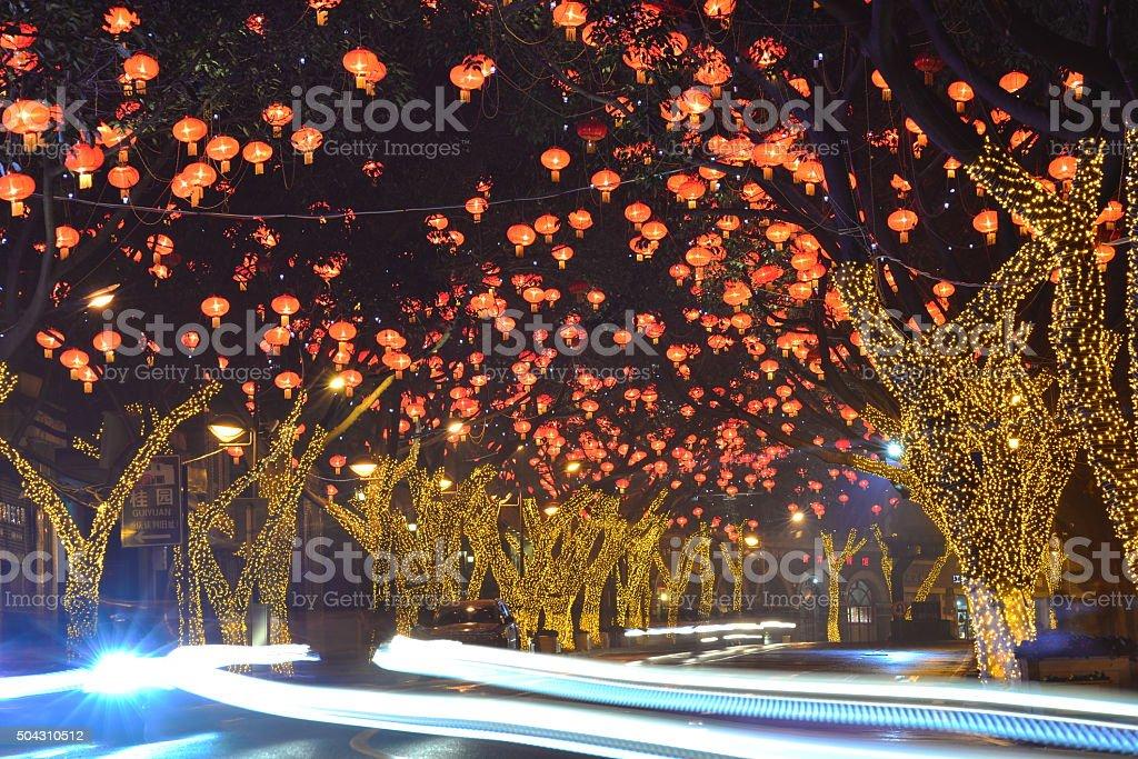 Exhibit of lanterns during the Lantern Festival. stock photo