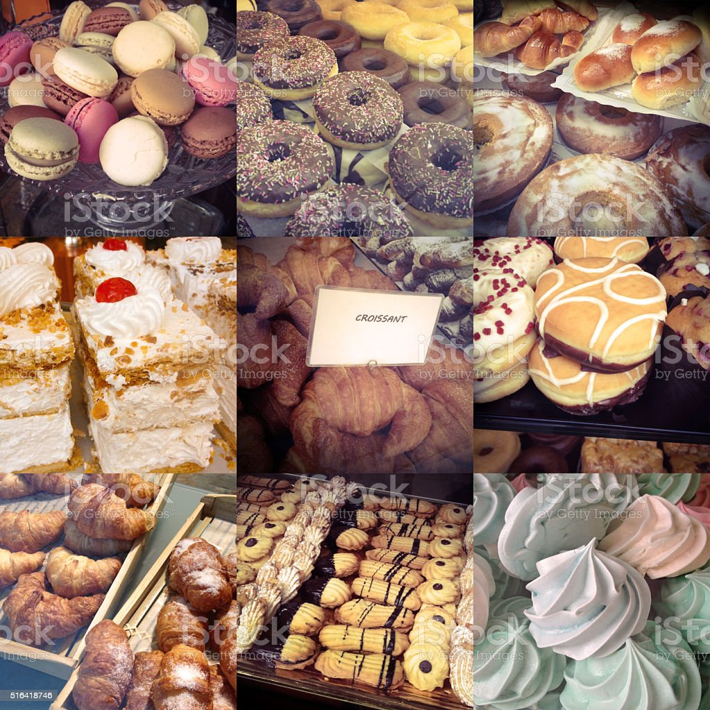 Exhibited pastries and cookies composition stock photo