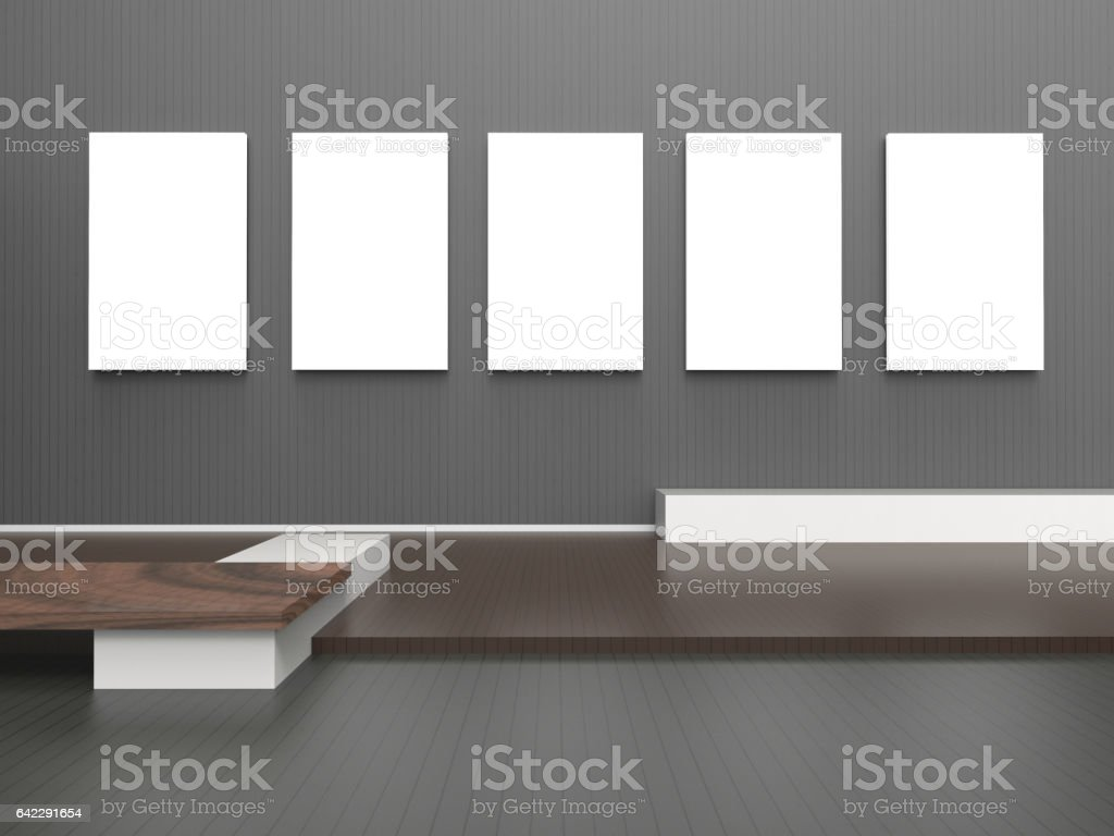 Exhibition Gallery empty modern room and five Picture frame stock photo