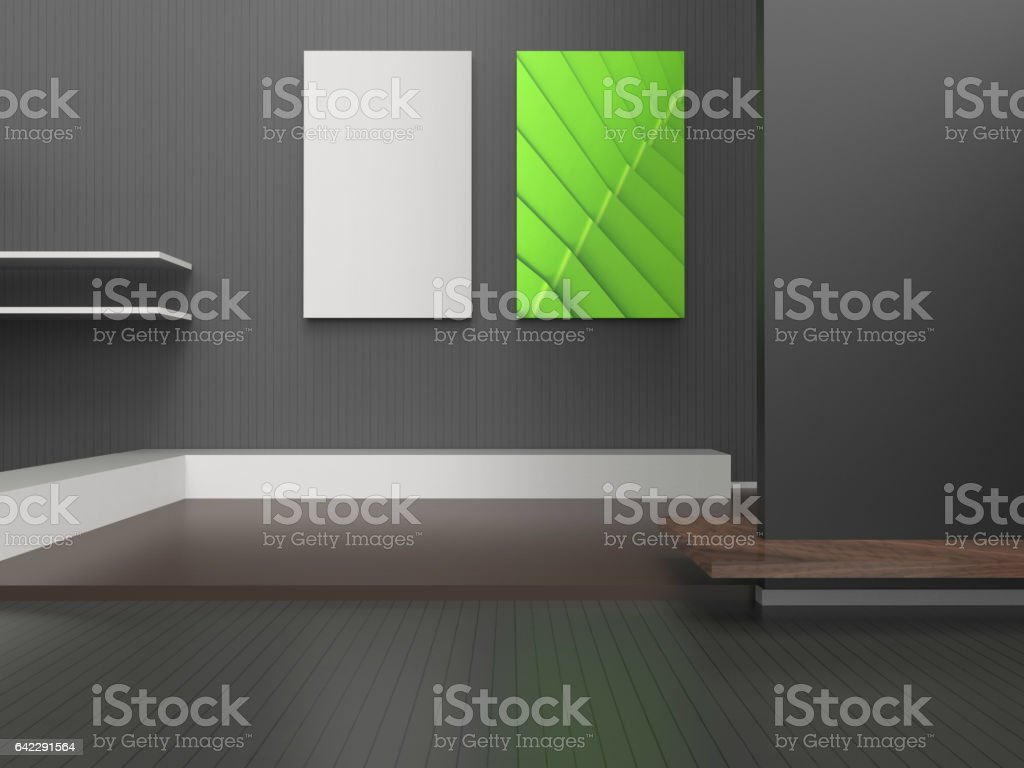 Exhibition Gallery empty modern room luxury style Two Picture frame stock photo