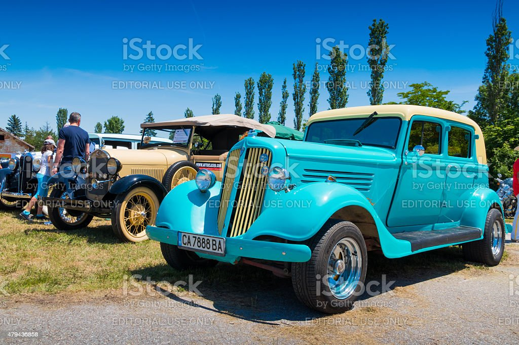Exhibition of American vintage cars stock photo