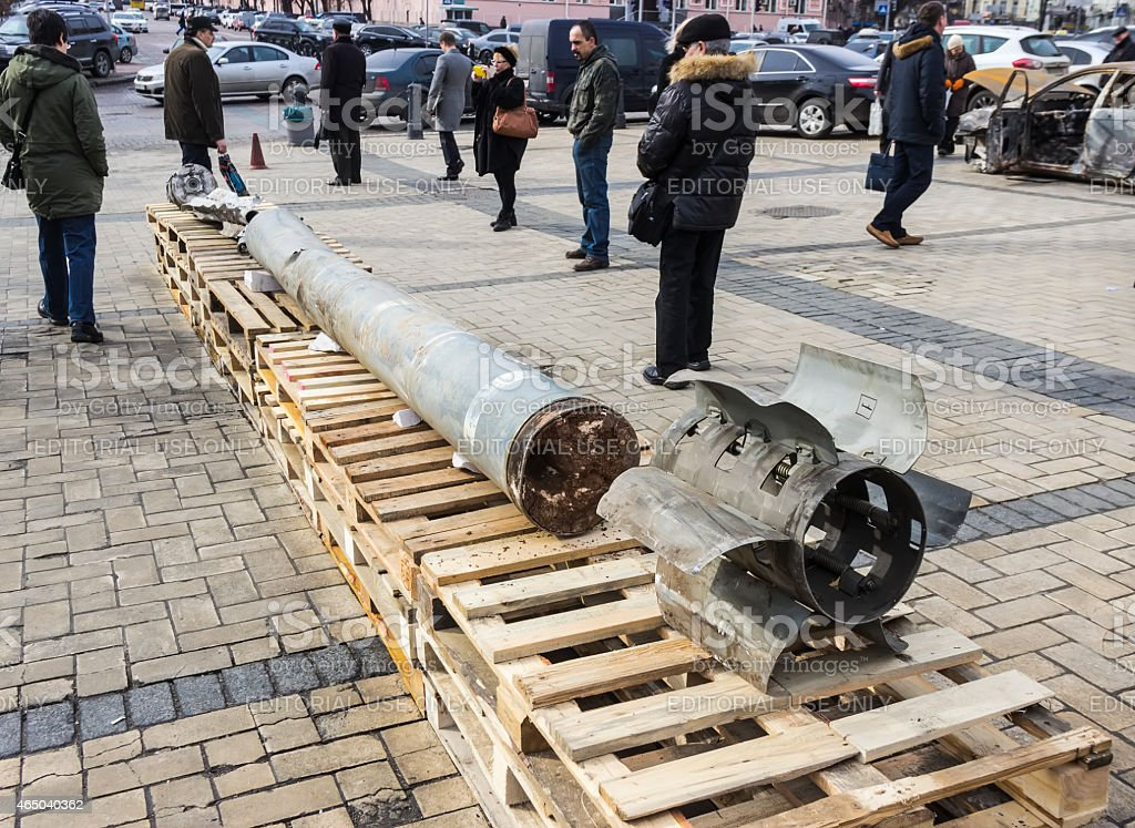 Exhibition of Russian weapons in Kiev stock photo