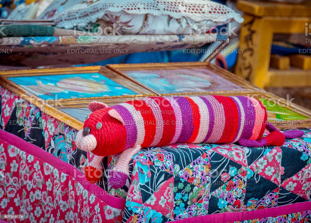Exhibition – sale of handmade sewing and knitting products stock photo