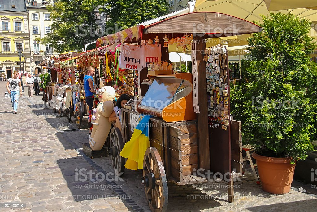 Exhibition sale of souvenirs on Rynok Square in Lviv, Ukraine stock photo
