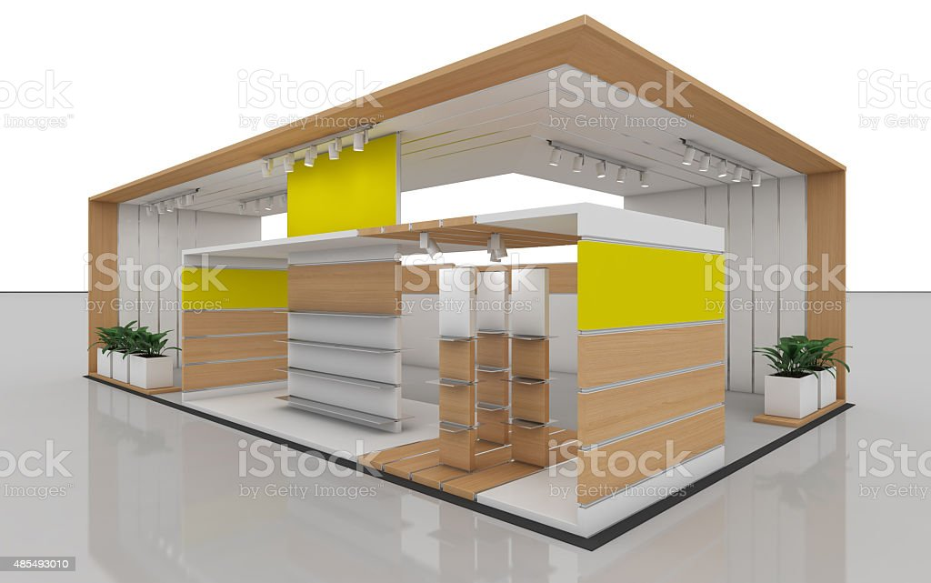 Exhibition Stand In Yellow And White stock photo