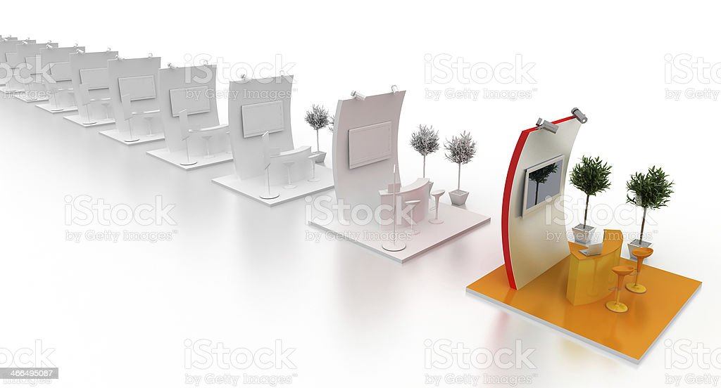 Exhibition stands in a row stock photo