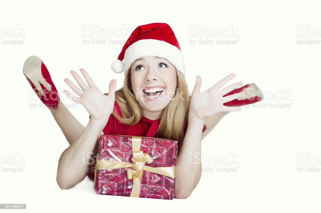 Exhilarated young female Santa royalty-free stock photo