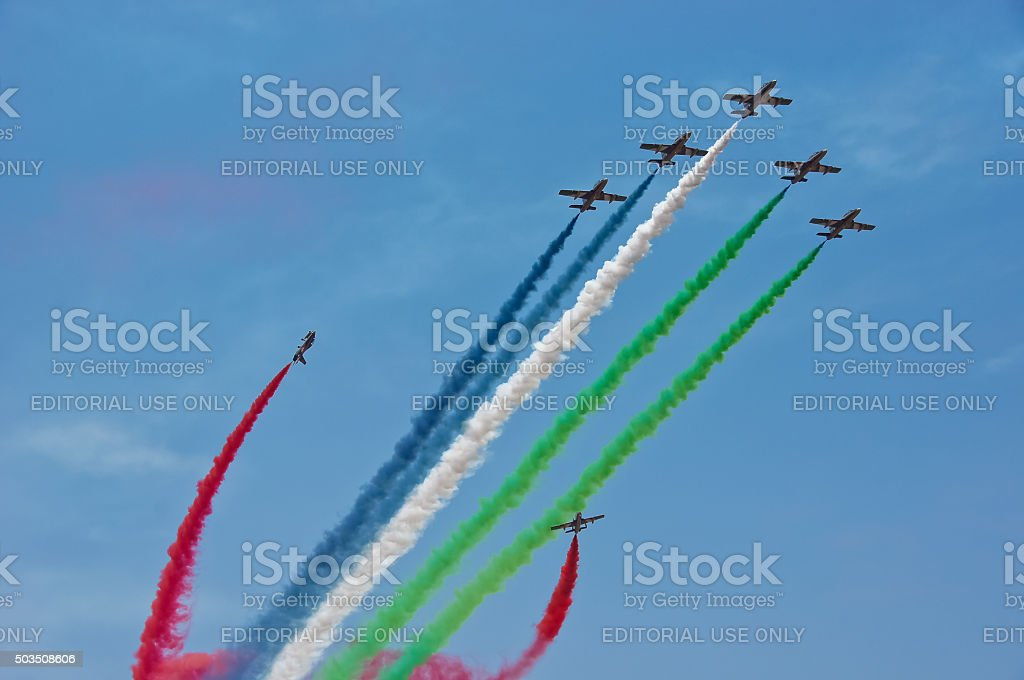 Exhilirating aerobatic maneuver by the team Al-Fursan from U.A.E stock photo