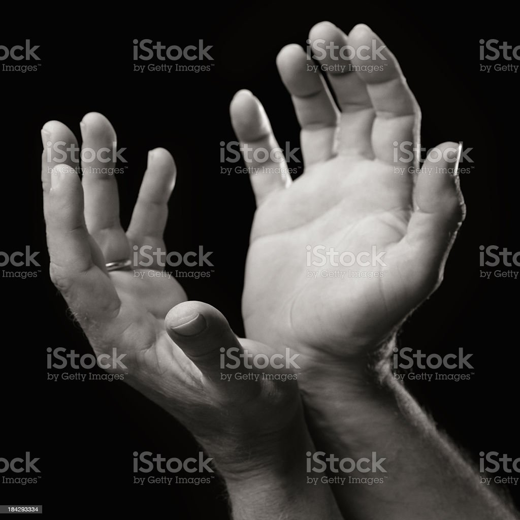 Exhorting hands, Black and White. stock photo