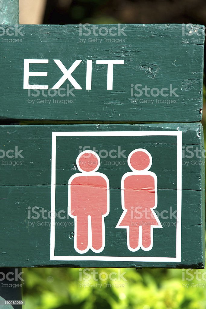 Exit and Toilet Sign royalty-free stock photo